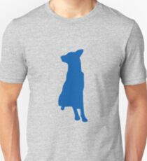 Blue sitting dog silhouette Unisex T-Shirt