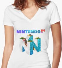 Vaporwave Nintendo 64 Women's Fitted V-Neck T-Shirt