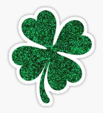 Green glitter shamrock clover sticker - PRINTED IMAGE Sticker