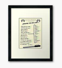 John McClane's To Do List Framed Print