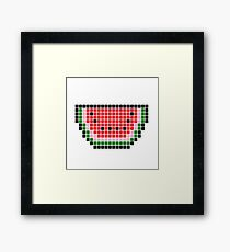 8 bit pixel watermelon Framed Print