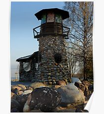old lighthouse at sunset among the trees Poster