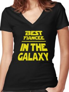 Best Fiancee in the Galaxy - Slanted Women's Fitted V-Neck T-Shirt