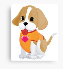 Cute Baby dog with love Metal Print