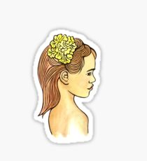 Island Girl with Yellow Hibiscus flower Sticker