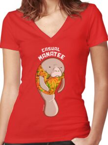 Casual Manatee Women's Fitted V-Neck T-Shirt