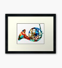 French Horn - Colorful Music by Sharon Cummings Framed Print