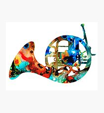 French Horn - Colorful Music by Sharon Cummings Photographic Print