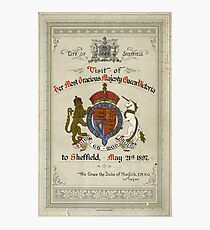 Programme for the visit of Queen Victoria to Sheffield, 1897 Photographic Print