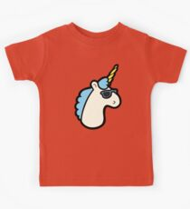 Unicorns Are Cool Pattern - Blue Kids Tee