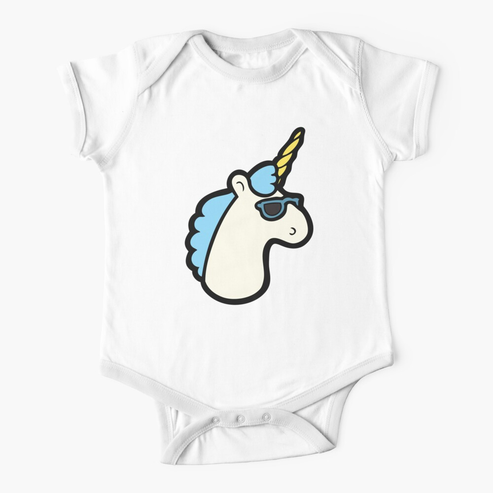 Unicorns Are Cool Pattern - Blue Short Sleeve Baby One-Piece