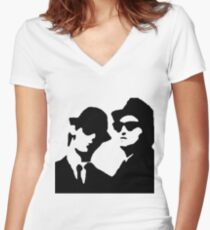blues brothers Women's Fitted V-Neck T-Shirt