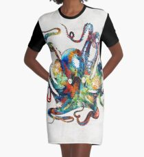 Bunte Kraken-Kunst durch Sharon Cummings T-Shirt Kleid