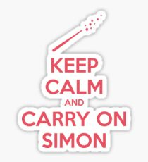 Keep Calm and Carry On Simon (Pink Text) Sticker