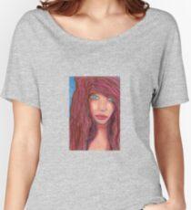 Oil Pastel Girl Portrait Women's Relaxed Fit T-Shirt