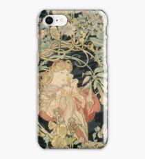 Alphonse Mucha - Woman In La Marguerite 1899  Garden,woman, love, dress,  birthday, fashion, spring, summer, peonies, pink,  beauty iPhone Case/Skin