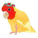 Lutino Flowercrown Peachfaced Lovebird by PrincessParrot