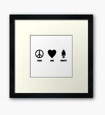 Peace Love Robots Framed Print