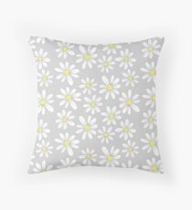 simple daisies on gray Throw Pillow