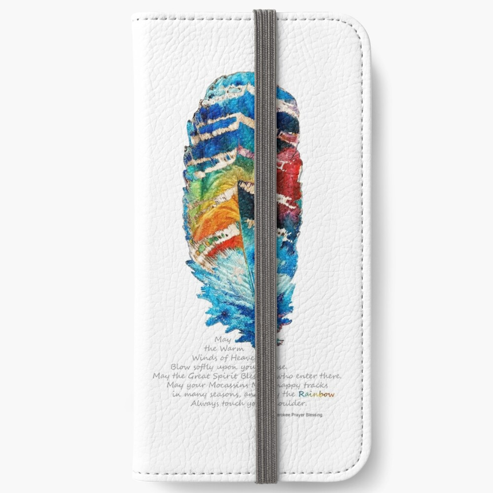 Bunte Feder-Kunst - Cherokee Segen - durch Sharon Cummings iPhone Flip-Case