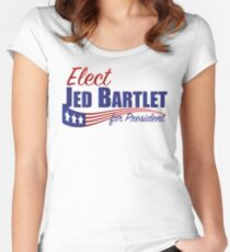 Elect Jed Bartlet for President with Flag Underline Women's Fitted Scoop T-Shirt