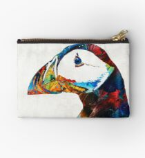 Colorful Puffin Art By Sharon Cummings Studio Pouch