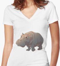 Cute cartoon hippo Women's Fitted V-Neck T-Shirt