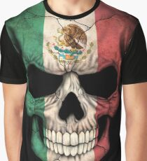 Mexican Flag Skull Graphic T-Shirt