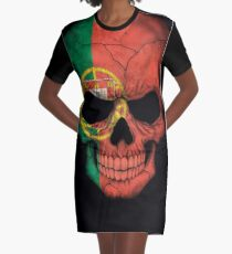 Portuguese Flag Skull Graphic T-Shirt Dress