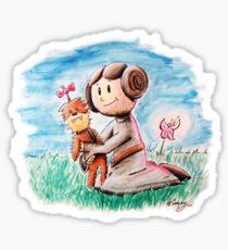 Princess Leia and Wookiee Doll Chewbacca STAR WARS fan art Sticker