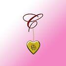C Golden Heart Locket by Chere Lei