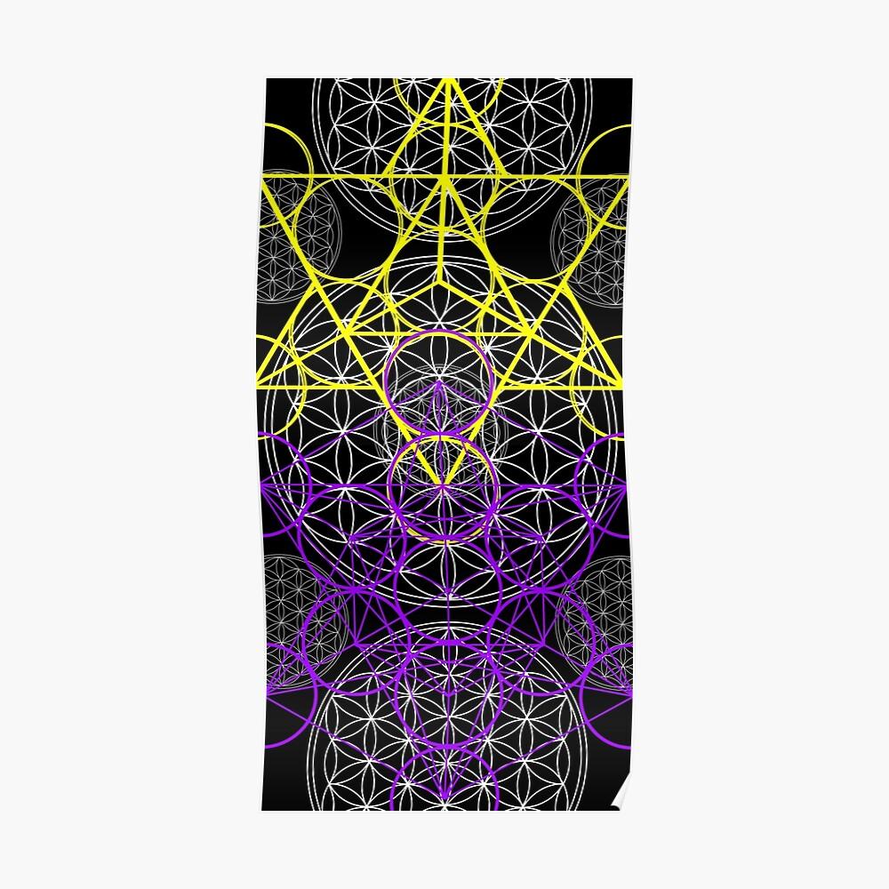 Purpurrote gelbe geometrische Blumen Poster