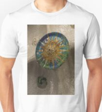 Stylized Sun - Antoni Gaudi Ceiling Medallion at Hypostyle Room in Park Guell - Right Vertical Unisex T-Shirt
