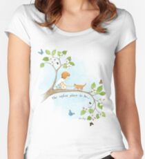 The safest place to be... Women's Fitted Scoop T-Shirt
