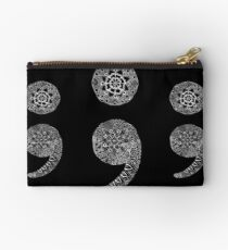 Patterned Semicolon: White on Black Studio Pouch