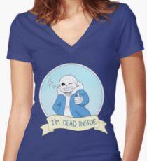 """Undertale - Sans """"I'm Dead Inside"""" Women's Fitted V-Neck T-Shirt"""