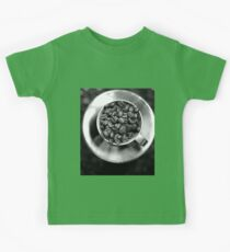Coffee beans with black and white Kids Tee