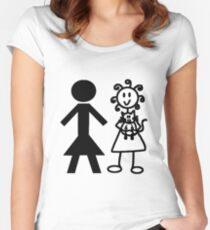 The Girl with the Curly Hair Holding Cat and NT Woman - White Women's Fitted Scoop T-Shirt