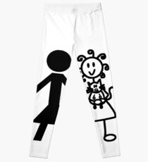 The Girl with the Curly Hair Holding Cat and NT Woman - White Leggings