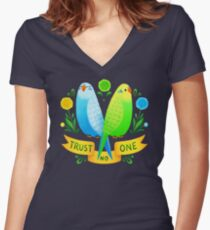 Trust NO One Budgerigars Women's Fitted V-Neck T-Shirt