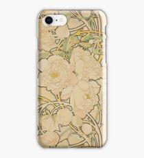 Alphonse Mucha - Peonies 1897  Garden, love, dress, fashion,spring, summer, peonies, pink, blossom, beauty iPhone Case/Skin