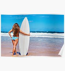 Sexy Young Woman Posing on Beach with Surf Board Poster