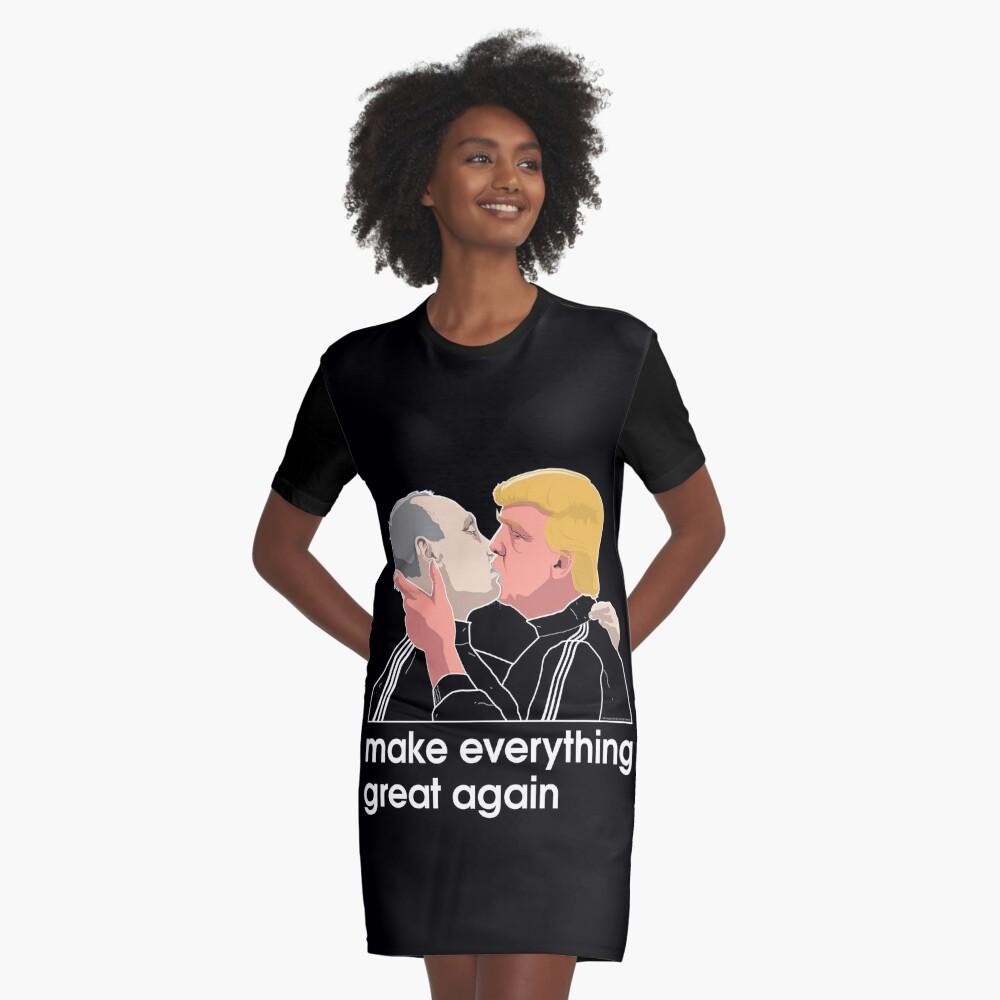 Trump kissing Putin Graphic T-Shirt Dress Front
