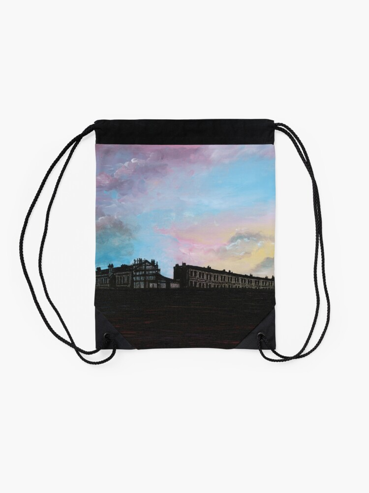 Alternate view of Priory Road at Dusk Drawstring Bag
