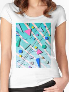 80s pop retro pattern 4 Women's Fitted Scoop T-Shirt