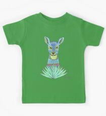 Patterned Blue Deer with Grass Kids Tee
