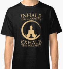 Yoga with cat - inhale - exhale Classic T-Shirt