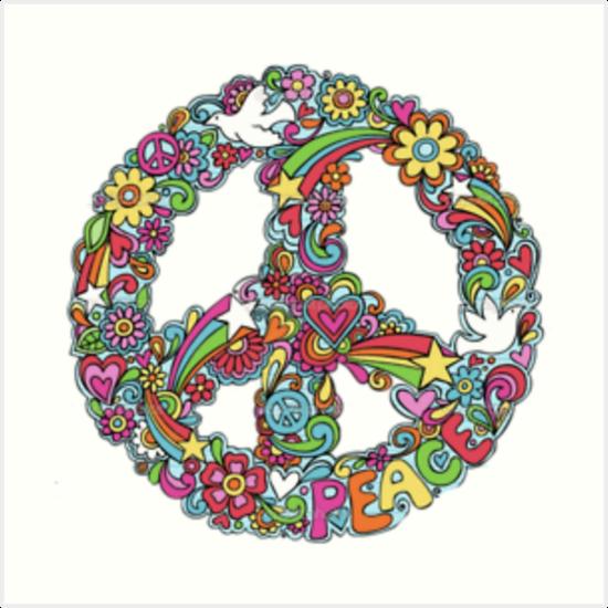 Colourful Peace Sign Art Prints By Ravanna Lotus Redbubble