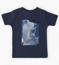 Glossy Glass Reflections - Skyscraper Geometry With Clouds - Left Kids Tee