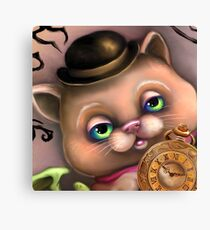 Steampunk Cat in a Bowler Hat - Goth Kitty Canvas Print